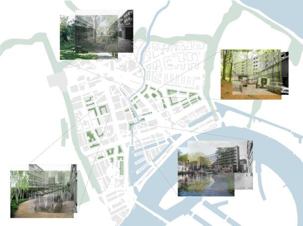 De expeditiehoven in de stadsdriehoek geprojecteerd op de 'ambitiekaart groenstructuur' van de gemeente Rotterdam. Door het vergroenen van de hoven ontstaan besloten groenpockets die aantrekkelijke alternatieve routes in de stad vormen.